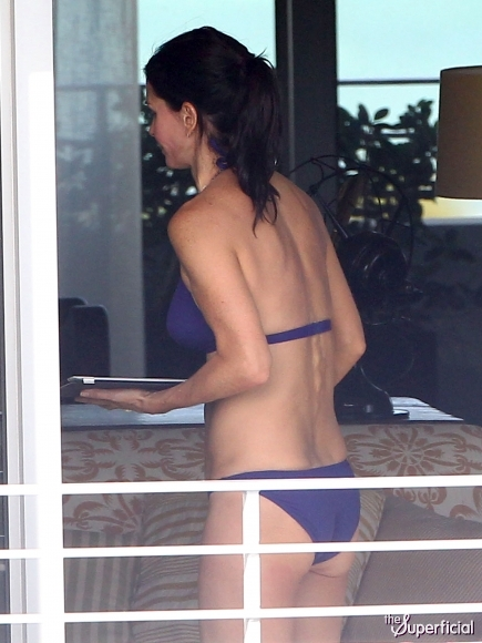 Courteney Cox Purple Bikini Butt